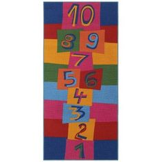 Children's Play Hopscotch Multi Kids Rectangular Rug Details