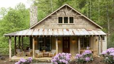 Perfect little cabin plan. Whisper Creek Plan - 17 House Plans with Porches - Southern Living. Such a charming little cabin! Porch House Plans, Best House Plans, Small House Plans, Rustic House Plans, Small Log Cabin Plans, Retirement House Plans, Small Rustic House, Log Cabin House Plans, Little House Plans