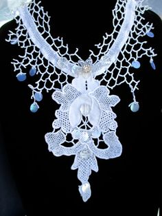 White Vintage Lace Flower Sequin Crystal Necklace by AliceHalliday, €60.00