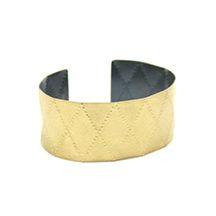 Raissa Bump   bracelet - Sienna Gallery Criss Cross Cuff wide, 18k gold, oxidized silver  1 in wide, 2 1/4 in across