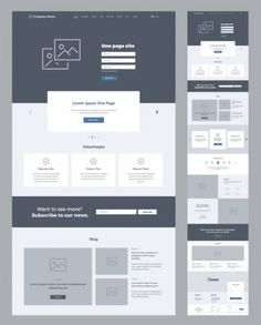 One Page Website Design Template Business Landing Page Wireframe Flat Flat Web Design, Web And App Design, Web Design Trends, Site Web Design, Web Design Examples, Web Design Tips, Design Design, Flat Website, Ui Website