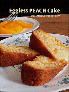 Eggless Peach Cake Recipe @ http://treatntrick.blogspot.com Lightly sweetened, this eggless cake looks as good as it looks