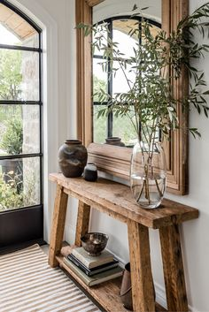 Gorgeous entryway with rustic wood console table and oversized mirror - Angela Wheeler Decor, Elle Decor, House Design, Home Remodeling, Interior, Entryway Decor, Home Decor, House Interior, Room Decor