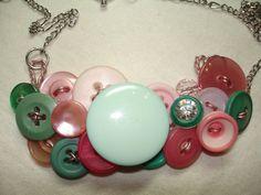 Botón Collar - Vintage botón joyería - rosa - verde menta - luz verde - jardín de delicias