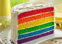 "Full-spectrum ""fabulous"" is the order of the day when you serve this treat at a kid's birthday or half birthday celebration. The colorful cake is a snap to pull together with Betty Crocker™ SuperMoist® vanilla cake mix and gel food coloring. Purple Cakes, Red Cake, Half Birthday, Rainbow Birthday, Birthday Cakes, Food Cakes, Layer Cake Recipes, Dessert Recipes, Dessert Ideas"