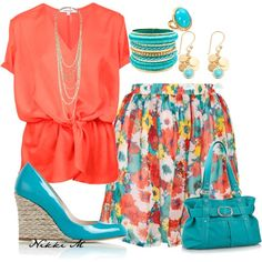 Blue and Coral ~ love this color combination.  Just fun, summery and looks easy to wear!