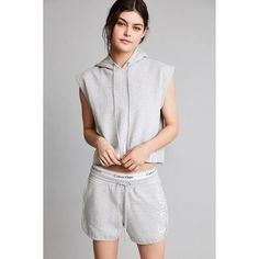 Calvin Klein For UO Capsule Drawstring Sweat Short ($79) ❤ liked on Polyvore featuring shorts, dolphin shorts, drawstring shorts, cotton shorts, gray shorts and draw string shorts