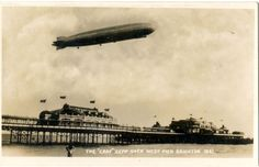 The Graf Zeppelin passing over Brighton's West Pier, August 1931 (Postcard) Brighton Sea, Brighton Rock, Brighton Sussex, Brighton And Hove, East Sussex, Plan A Day Out, Modern History, Vintage Travel Posters, Zeppelin