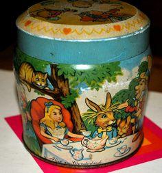 Super Alice in Wonderland Story scenes all around this 1950s Thornes Toffee Tin.