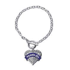 Navy Blue Middle Sis Pave Heart Toggle Bracelet