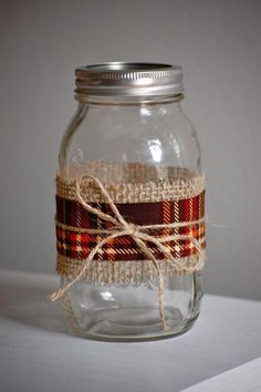 Plaid fabric mason jar fall wedding decor shabby by HeidieWithAnE, $6.25 ***Use green and gold plaid or a variety of colors to compliment wedding plus fall colors.