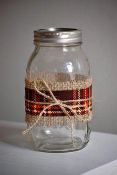 Plaid fabric mason jar fall wedding decor shabby by HeidieWithAnE, $6.25
