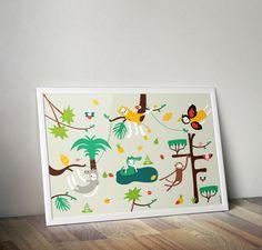 Jungle print wall art Original Zezling illustration by Zezling Jungle Nursery, Woodland Nursery Decor, Nursery Prints, Wall Art Prints, Jungle Illustration, Jungle Print, Animal Costumes, Room Posters, Jungle Animals