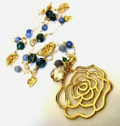DASI GLAM Rose Pendant Statement Necklace. Beautiful blue agate and gold fill chain. IMPACT!