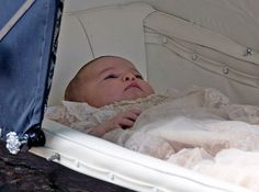 Princess Charlotte's christening in pictures  The two-month-old princess was shielded from the sun and too much excitement in the Millson pram, which was used previously by The Queen for her two youngest children, Princes Andrew and Edward.