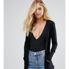New Look Tall Drape Cardigan ($18) ❤ liked on Polyvore featuring tops, cardigans, black, jersey cardigan, stretchy long sleeve tops, drape top, long sleeve cardigan and jersey top