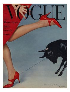 """Vogue cover by Richard Rutledge, February 1958. The """"More taste than money"""" issue."""
