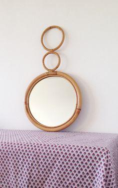 Vintage bamboo mirror circular 1970s wall mirror by VelvetEra