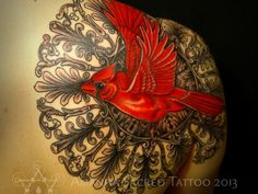 mandala with cardinal over it (but I dont like this bird or want color, LOL)