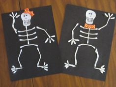 Preschool Crafts for Kids*: Halloween Q-tip Skeleton Craft