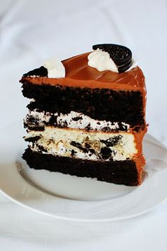 Triple Layer Oreo Cake from Beantown Baker Oreo Cake Recipes, Frosting Recipes, Dessert Recipes, Just Desserts, Delicious Desserts, Yummy Food, Yummy Yummy, Delish, Tasty