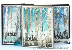 Layers of ink - Winter Birch Trees Tutorial by Anna-Karin.  Use of micro glaze