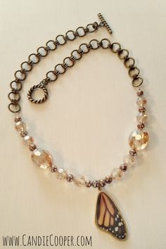 Monarch Necklace By Candie Cooper - Beautiful combo of Chain, Beads, and a Real Butterfly Wing!