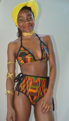 Black and Kente High-Waist Lace-Up Bikini Bottom by TribesOfKin