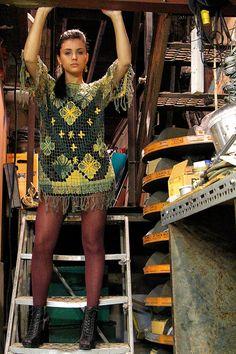 Handmade Brazilian Renda File Dress Green