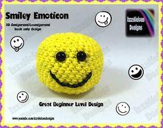 Rainbow Loom 3D Amigurumi/Loomigurumi Smiley Emoticon Ball - Hook only d...