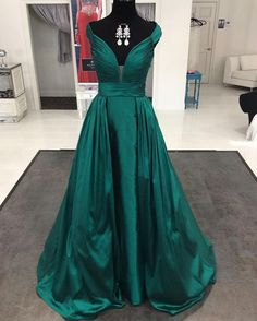 Elegant Emerald Green Satin Long Formal Evening Gowns,