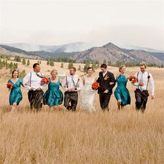 Orange and Teal Wedding Party but with red, not orange.