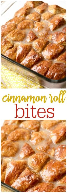Super simple and delicious Cinnamon Roll Bites - so good { http://lilluna.com } Recipe includes refrigerated biscuits, butter, cinnamon, & sugar with a yummy glaze!