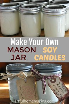 Make Your Own Mason Jar Soy Candles tutorial. It's easy and fun to make your own candles! Mason Jar Gifts, Mason Jar Candles, Mason Jar Diy, Yankee Candles, Candels, Homemade Soy Candles, Diy Candles Easy, Oil Candles, Soy Wax Candles