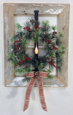 Christmas DIY: Old Window Holiday W Old Window Holiday Wreath Idea diy handmade gift crafts step by step homemade projects arts & crafts christmas gifts gift ideas. Homemade Christmas Decorations, Christmas Crafts For Gifts, Xmas Decorations, Christmas Projects, Christmas Ornaments, Gift Crafts, Christmas Ideas, Diy Decoration, Candles In Windows Christmas