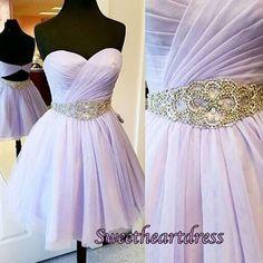 Cute lavender chiffon sweetheart dress for teens, short homeocming dress for 2016