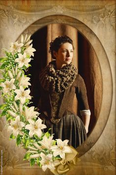 Claire's brown dress with floral stomacher, plaid skirt and chunky knit infinity cowl | Outlander on Starz | Costume Designer TERRY DRESBACH