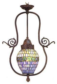 Victorian Tiffany Nouveau 1 Light Turtleback Foyer Pendant