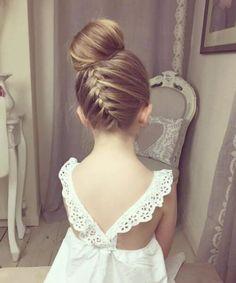 ribbon braid swirled into bun little girl hairstyles