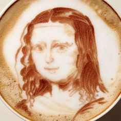 The Mona Lisa in a coffee cup.