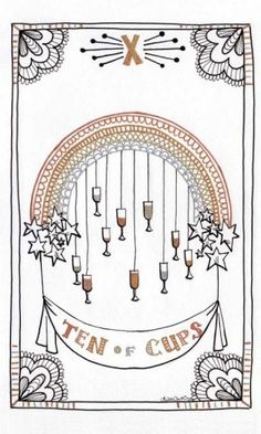Nine of Cups from the Lisa Chow Oracle Tarot, self published at etsy.