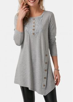 Gray Lace Splicing Button Detail Long Sleeve Casual Top @ T Shirts,Tee S. Stylish Tops For Girls, Trendy Tops For Women, Mode Hijab, Ladies Dress Design, Casual Tops, Ideias Fashion, Clothes For Women, Womens Fashion, Trendy Fashion
