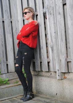 Studded Loose Sweater - OASAP.com