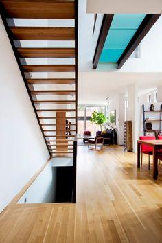 Blue-hued glass walkway