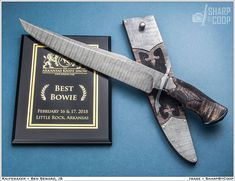 Thanks to @sharpbycoop for the great shot of the bowie that took the award for best bowie at #arkansasknifeshow last weekend. #bladesmithing #knivesdaily #handmade #bladeforums #knivesdaily_ig #knifenut #knivesofig #fightingknife #knife #checkering #carving #damascussteel #forged #arkansasknifemaker #customknives @soccerman_lefty #luxury #safari #expensivetaste #curlymaple #bensewardknives