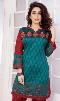 USD 36.87 Blue Cotton Silk Formal Kurti 31561