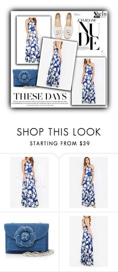"""""""blue halter floral maxi dress"""" by muamera03 ❤ liked on Polyvore featuring Oscar de la Renta and Soludos"""