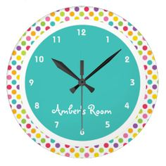 Colorful Polka Dot Kid's Bedroom Wall Clock