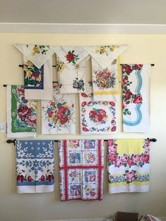 Cute way to display old tablecloths.