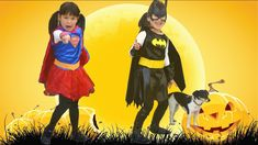 Halloween Costumes for Kids little girls : Batgirl and Supergirl